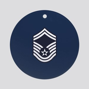 USAF: SMSgt E-8 (Blue) Round Ornament