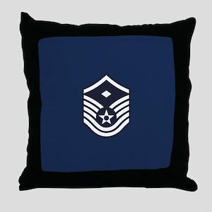 USAF: MSgt E-7 (Blue) Throw Pillow