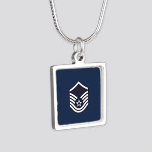 USAF: MSgt E-7 (Blue) Silver Square Necklace