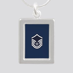 USAF: MSgt E-7 (Blue) Silver Portrait Necklace