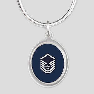 USAF: MSgt E-7 (Blue) Silver Oval Necklace