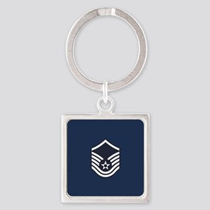 USAF: MSgt E-7 (Blue) Square Keychain