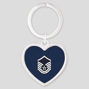 USAF: MSgt E-7 (Blue) Heart Keychain