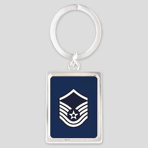 USAF: MSgt E-7 (Blue) Portrait Keychain
