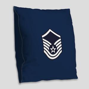 USAF: MSgt E-7 (Blue) Burlap Throw Pillow
