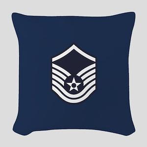 USAF: MSgt E-7 (Blue) Woven Throw Pillow