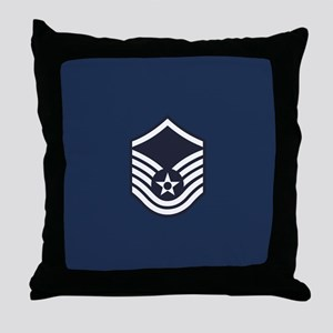 USAF: MSgt E-7 (Blue) Throw Pillow
