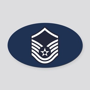 USAF: MSgt E-7 (Blue) Oval Car Magnet