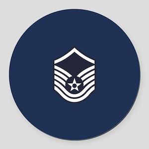 USAF: MSgt E-7 (Blue) Round Car Magnet