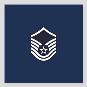 "USAF: MSgt E-7 (Blue) Square Car Magnet 3"" x 3"""