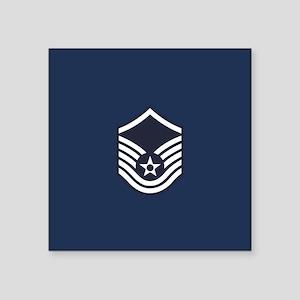 "USAF: MSgt E-7 (Blue) Square Sticker 3"" x 3"""
