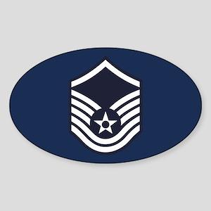 USAF: MSgt E-7 (Blue) Sticker (Oval)