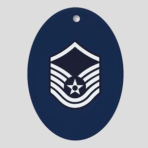 USAF: MSgt E-7 (Blue) Oval Ornament