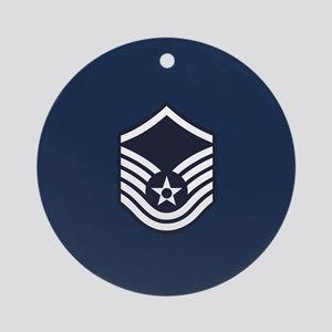 USAF: MSgt E-7 (Blue) Round Ornament
