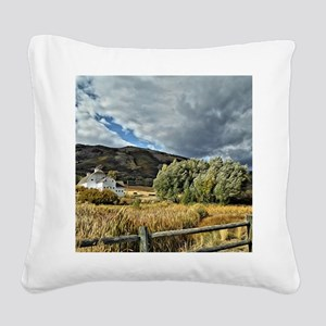 Barn and Tree by Leslie Harlo Square Canvas Pillow