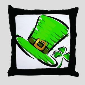 LUCKY HAT & CLOVER Throw Pillow