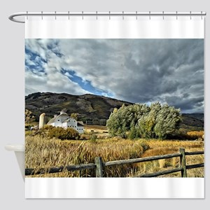 Barn and Tree by Leslie Harlow Shower Curtain