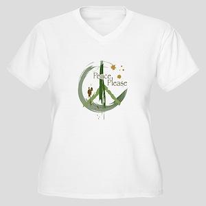 Peace Please Women's Plus Size V-Neck T-Shirt