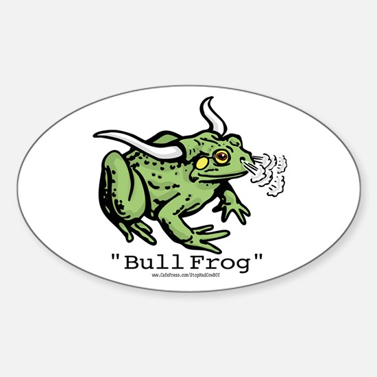 """Funny """"Bull"""" Frog Oval Decal"""