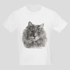 TG, Long-Haired Gray Cat Kids Light T-Shirt