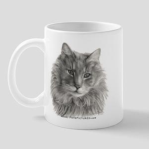 TG, Long-Haired Gray Cat Mug