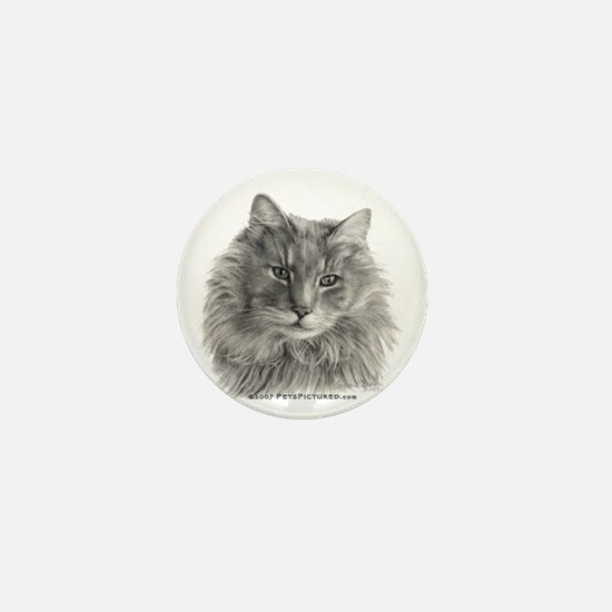 TG, Long-Haired Gray Cat Mini Button