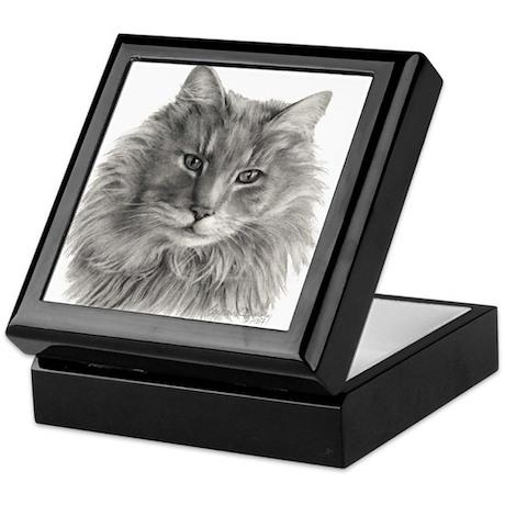 TG, Long-Haired Gray Cat Keepsake Box