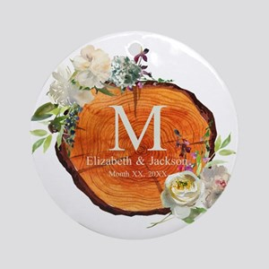 Floral Wood Wedding Monogram Round Ornament