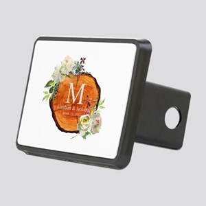 Floral Wood Wedding Monogram Hitch Cover