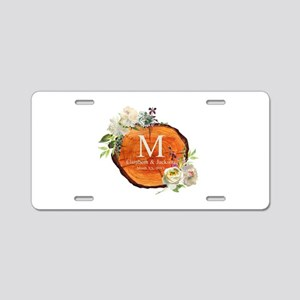 Floral Wood Wedding Monogram Aluminum License Plat