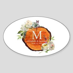 Floral Wood Wedding Monogram Sticker