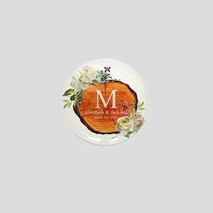 Floral Wood Wedding Monogram Mini Button (10 pack)