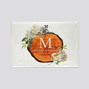 Floral Wood Wedding Monogram Magnets