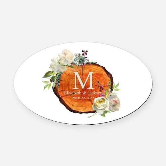 Floral Wood Wedding Monogram Oval Car Magnet