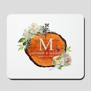 Floral Wood Wedding Monogram Mousepad