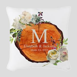 Floral Wood Wedding Monogram Woven Throw Pillow