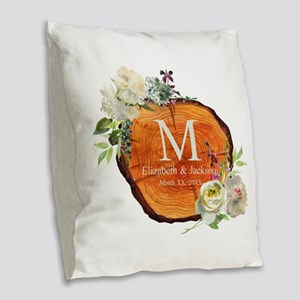 Floral Wood Wedding Monogram Burlap Throw Pillow