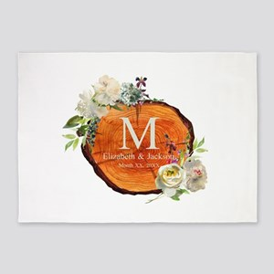 Floral Wood Wedding Monogram 5'x7'Area Rug