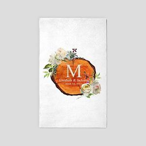 Floral Wood Wedding Monogram Area Rug