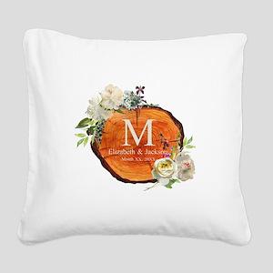 Floral Wood Wedding Monogram Square Canvas Pillow