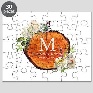 Floral Wood Wedding Monogram Puzzle