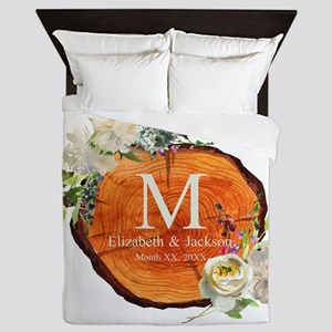 Floral Wood Wedding Monogram Queen Duvet