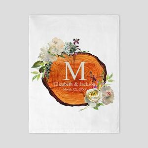 Floral Wood Wedding Monogram Twin Duvet Cover