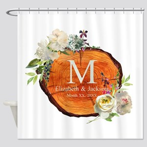 Floral Wood Wedding Monogram Shower Curtain