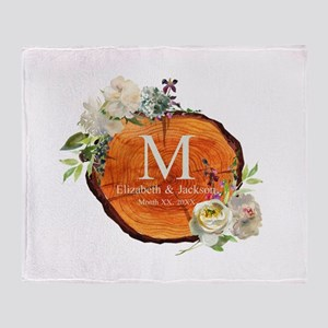 Floral Wood Wedding Monogram Throw Blanket