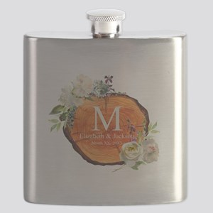 Floral Wood Wedding Monogram Flask
