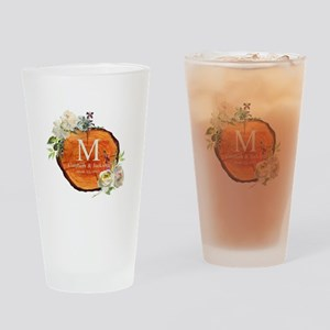 Floral Wood Wedding Monogram Drinking Glass
