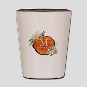 Floral Wood Wedding Monogram Shot Glass