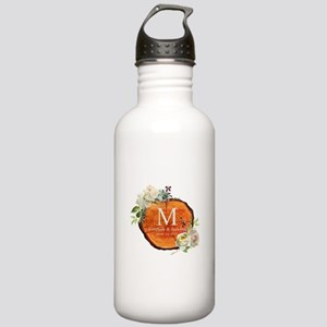 Floral Wood Wedding Monogram Water Bottle