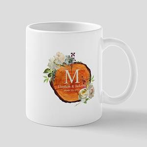 Floral Wood Wedding Monogram Mugs
